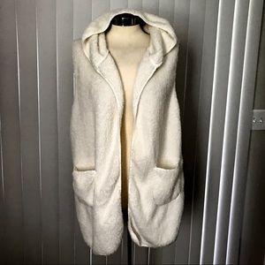 Cherish Fur Long Vest Cardigan With Hoodie Size M